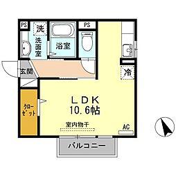 JR山陽本線 下関駅 徒歩19分の賃貸アパート 2階ワンルームの間取り