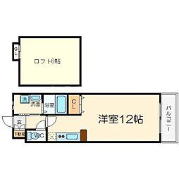 バートンハウス東淡路[4階]の間取り