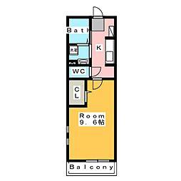 ポラリス希央台 2階1Kの間取り