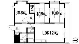 兵庫県宝塚市山本南1丁目の賃貸マンションの間取り
