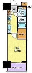 ルリオン豊洲ウォーターフロント 8階1Kの間取り