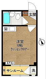 カームコートA[208号室]の間取り
