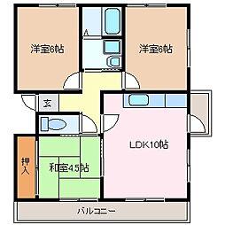 北浜田マンション A棟[3階]の間取り