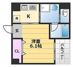 La mer 諏訪森 4階1Kの間取り