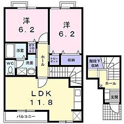 オーブリーヒキノA[2階]の間取り