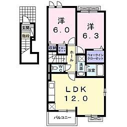 岡山県赤磐市小瀬木の賃貸アパートの間取り
