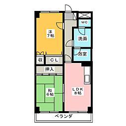 愛知県小牧市小木4丁目の賃貸マンションの間取り
