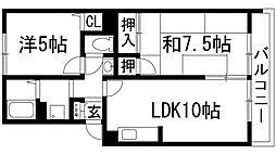 兵庫県伊丹市中野北3丁目の賃貸アパートの間取り
