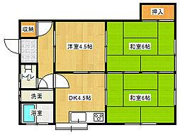 加藤アパート[2FS号室]の間取り