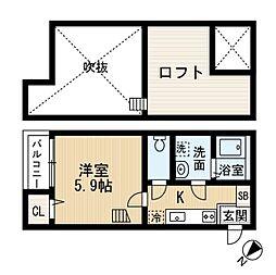 JR仙山線 北山駅 徒歩11分の賃貸アパート 1階1Kの間取り