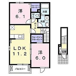 三重県鈴鹿市長太栄町3丁目の賃貸アパートの間取り