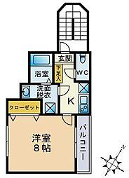 エルミタージュ平間[2階号室]の間取り