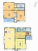 リフォーム前の間取り図面です。吹き抜けが有り開放感も有って使い勝手の良い4LDKの住宅です。