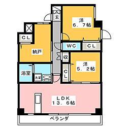 プログレッソ花の木[2階]の間取り