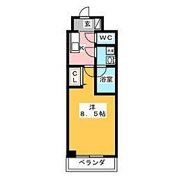 GRAN PASEO 神楽坂 4階1Kの間取り