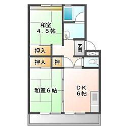 上浜団地(3・4号棟)[3-504号室]の間取り