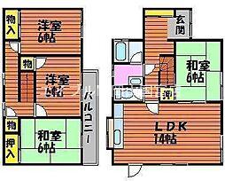 [一戸建] 岡山県岡山市中区赤田 の賃貸【/】の間取り