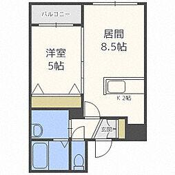 札幌市営東豊線 東区役所前駅 徒歩8分の賃貸マンション 4階1LDKの間取り