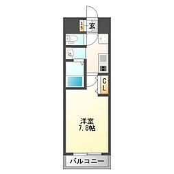 プランドール新大阪SOUTHレジデンス 4階1Kの間取り