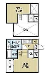 愛知県名古屋市中村区高道町3丁目の賃貸アパートの間取り
