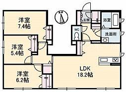 香川県高松市上之町3丁目の賃貸アパートの間取り