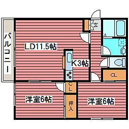 リバティ西岡B[3階]の間取り