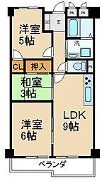 大阪府枚方市釈尊寺町の賃貸マンションの間取り