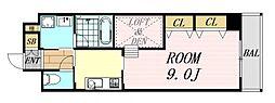 アローフィールズ弐番館 11階1DKの間取り