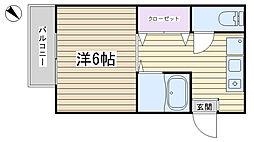 コーポ名美[203号室]の間取り