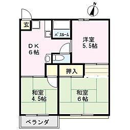 杉田コーポラス[203号室]の間取り
