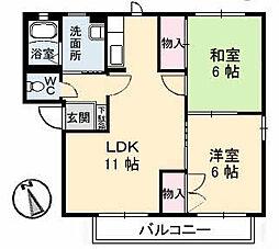 広島県福山市手城町3丁目の賃貸アパートの間取り