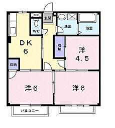 栃木県下野市緑2丁目の賃貸アパートの間取り
