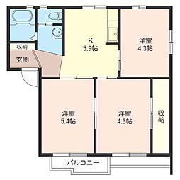 コグレ ハイツ B[2階]の間取り