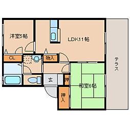 奈良県橿原市四条町の賃貸アパートの間取り