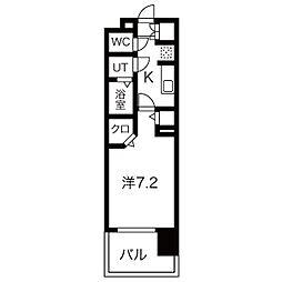 名古屋市営名城線 黒川駅 徒歩3分の賃貸マンション 2階1Kの間取り