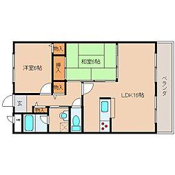 奈良県奈良市松陽台4丁目の賃貸マンションの間取り