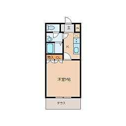 JR関西本線 王寺駅 徒歩13分の賃貸マンション 1階1Kの間取り