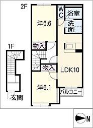 エルシャトーIII[2階]の間取り