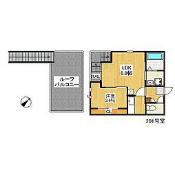 西鉄天神大牟田線 西鉄平尾駅 徒歩8分の賃貸アパート 2階1LDKの間取り