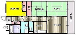 岡山県岡山市北区富田の賃貸マンションの間取り