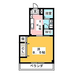 グリーンコート羽島 3階1Kの間取り