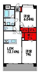 パースペクティブ須恵中央 4階2LDKの間取り