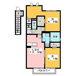 イーストビレッジA[2階]の間取り