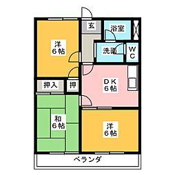 パールロイヤル江島[3階]の間取り