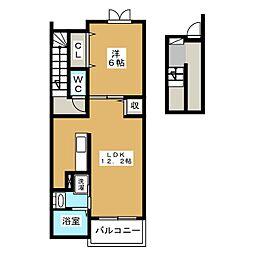ジュネスメゾン弐番館[3階]の間取り