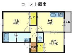 コースト阪南[2階]の間取り