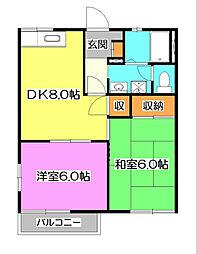 埼玉県新座市新堀2丁目の賃貸アパートの間取り