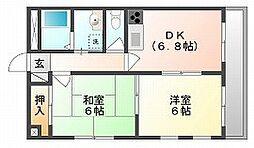 岡山県岡山市北区横井上の賃貸マンションの間取り