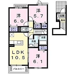 長野西アパートA[0202号室]の間取り