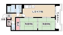 愛知県名古屋市南区元柴田東町1丁目の賃貸マンションの間取り